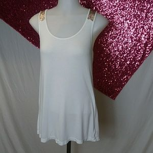 White with gold sequins tank top